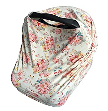 Baby Girl Floral Car Seat Cover Canopy And Nursing Multi Use Stretch Infant