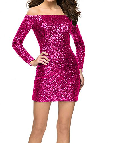 with Fuchsia The Sequin Bodycon Party Gown Long Short Shoulder Off JAEDEN Sleeves Cocktail Dress Dress zqxn6CYw7