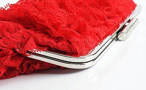 Banquet À De De Dames Dentelle Strass Main Sacs Pochette Sac Soirée Mode red Paquet Dîner Mariage La 4nOHOXtq
