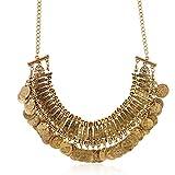 Lureme Vintage Engraved Coin Bib Statement Necklace Clavicle Necklace (01003295) (Antique Gold)
