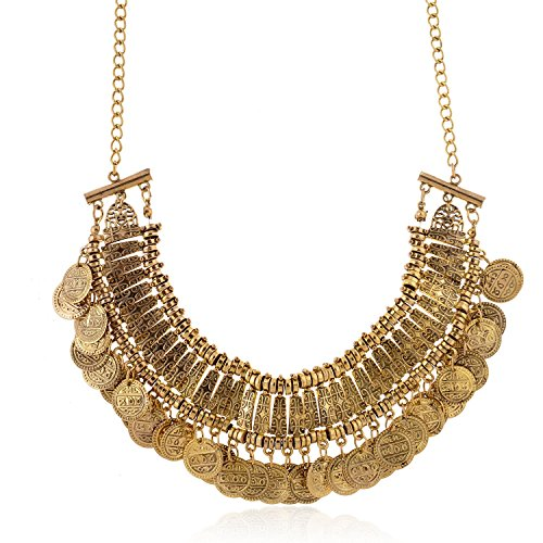 Vintage Engraved Coin Bib Necklace (Antique Gold)