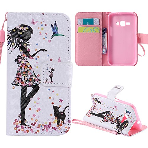 J1 2016 Case, Galaxy Amp 2 Case, Galaxy Express 3 Case, Harryshell(TM) Flower Girl Wallet Folio Leather Flip Case Cover with Card Holder for Samsung Galaxy J1 2016 / Galaxy Amp 2 / Galaxy Express 3 (Samsung Galaxy 2 Case For Girls)