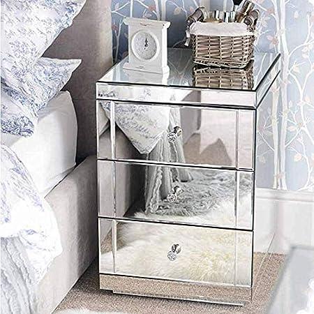 Mesilla de Noche Cabecera 3 Cajoneras Espejos Cristal Modelo Diamantes para Dormitorio Dejar Fotos Adornos L/ámparas Tel/éfono Panana 1