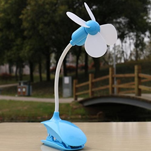 Capital Wireless Flexible 360 degree all angle adjustable Clip on USB mini fan, perfect for office, home, outdoor, baby stroller, car, gym, power by USB outlet (blue)