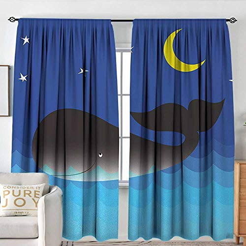 NUOMANAN Rod Pocket Drapes and Curtain Blue Whale,Whale in The Ocean at Night Time Sea Animal with Starry Sky and Moon Art Prints,Dark Blue,Customized Curtains 54