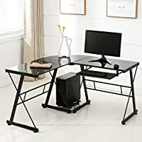 L-Shape Corner PC Glass Laptop/Computer Desk