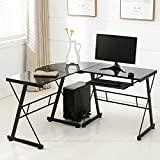 Mecor L Shape Tempered Glass Computer Desk w/Keyboard Tray & CPU Stand-Corner Laptop PC Table Workstation Home Office Furniture, Black