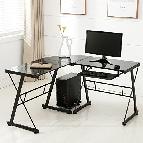 Mecor L Shape Tempered Glass Computer Desk w/Keyboard Tray & CPU Stand-Corner Laptop PC Table Workstation Home Office Furniture, Black Black Glass Computer Desk