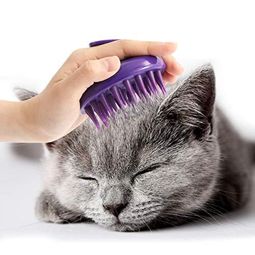 [Soft Silicone Pins] CeleMoon Ultra-Soft Silicone Washable Cat Grooming Shedding Massage / Bath Brush – Safe & No…