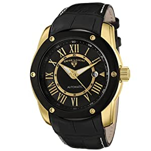 Swiss Legend Men's 10005A-YG-01-BB-W Traveler Collection Automatic Black Leather Watch With Winder