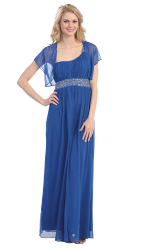 Belly Envy Women's Foxy Maternity Formal Dress- Long (Medium, Royal Blue)