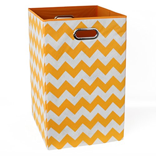 Kidsline Basket - Modern Littles Folding Laundry Basket, Bold Orange Chevron