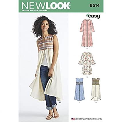 Amazon.com: New Look Ladies Easy Sewing Pattern 6514 Over Coat ...