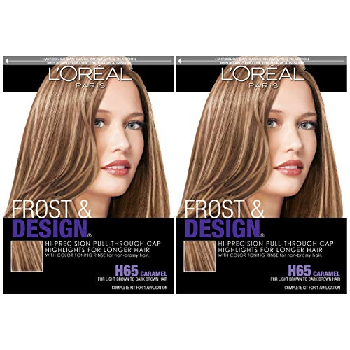 L'Oreal Paris Frost and Design Cap Hair Highlights for Long Hair, Caramel, 2 Count (Best Box Hair Highlights)