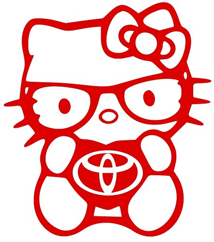 7' Sticker (Love Hello kitty toyota tacoma prius corolla decal vinyl sticker 7'' width by 8'' height (red))