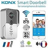 KONX® Doorbell Interphone Portier Video IP Réseau Wifi RJ45 + Relais porte Synthèse Vocale FR