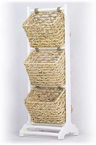 Heather Ann Creations Vale Collection Bohemian Three Basket Magazine Rack, Wicker Finish, White Wicker