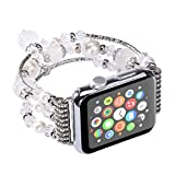 Tomazon Apple Watch Band, Fashion Handmade Elastic Stretch Faux Pearl Natural Stone Bracelet Replacement Women Girls iWatch Strap Bands for Apple Watch Series 3 / 2 / 1 All Version 38mm - White
