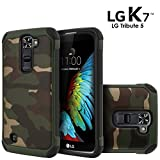 LG K7 Case, LG Tribute 5 Case, Celljoy [Shock Armor] {Camo Green} LG LS675 LG MS330 LG X210 Slim Fit Dual Layer **Shockproof** Hybrid Reinforced Bumper **Impact Resistant** Premium - Thin Hard Cover
