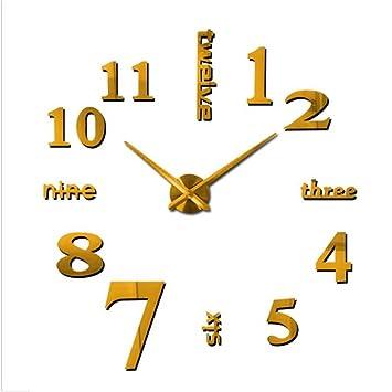 Pegatinas De Pared Reloj Cristal 3D Espejo Cristal Creativo Números De Reloj Inglés Etiqueta De La Pared Decoración De La Decoración Del Hogar Arte DIY ...