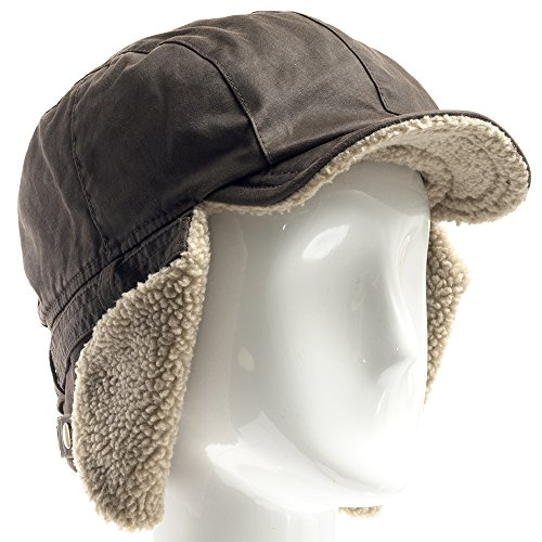 Best Pilot Trooper Aviator Cap Faux Leather Hat Ushanka Trapper BROWN 7 1/2 by Ultrafino (Image #2)
