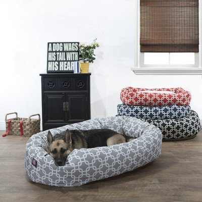 40 inch Grey Links Sherpa Bagel Dog Bed by Majestic Pet