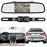 LeeKooLuu Backup Camera 4.3'' Mirror Monitor Kit Car/Truck Wire Single Power Source Rear View Camera System Rear View/Constantly View Optional Waterproof Night Vision Guide Lines