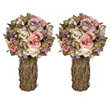 "TWO 12"" Artificial Rose Topiary Flower Arrangement _Lavender Pink"