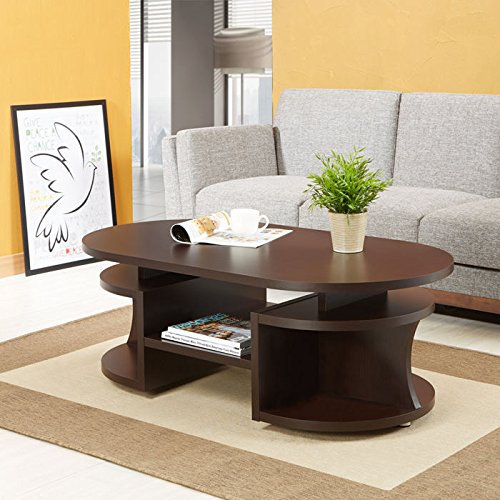 Enitial Lab Smitans Layered Storage Coffee Table Walnut Oval Coffee Table