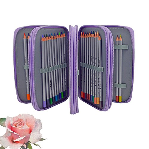 Pencil Case Professional 4 Layers and 4 Zippers,Anti-drop and Anti-shock Sketch 72 Slots Fill-color Pencil Case with Lots of Compartments Colors Pen Bag for Painting (purple)