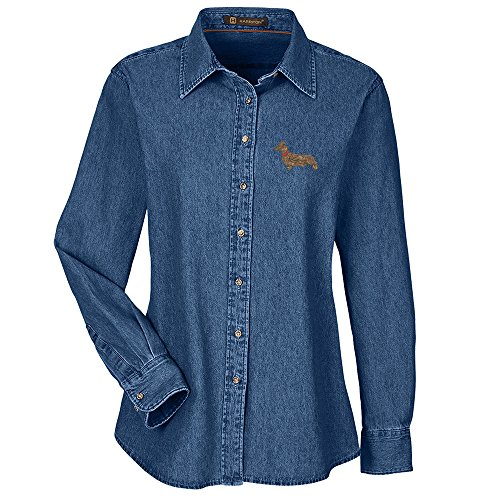 Mini Dachshund Embroidered Ladies 100% Cotton Denim Shirt (Dachshund Womens Denim Shirt)