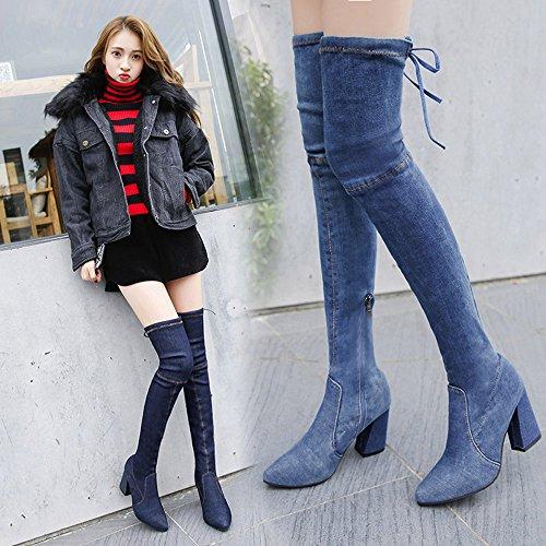 por Botas Mujer de Azul Moda de Oto Zapatos para de MYQyiyi Tubo Invierno Tacones 39 Largos o YwUOwq