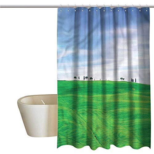 Denruny Shower Curtains Brown and Teal Tuscany,Rural Tuscany Field Crop,W48 x L72,Shower Curtain for Women