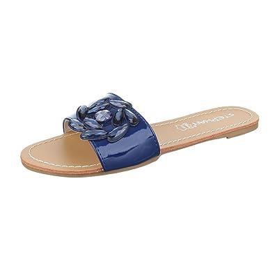 Ital-Design Pantoletten Damen Schuhe Jazz & Modern Leichte Sandalen/Sandaletten Gelb, Gr 37, Jn-20-