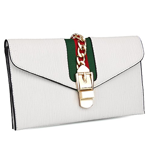 EROUGE Designer Evening Envelope Clutch Bags PU Leather Wristlet Purse Cross Body Bag with Adjustable Strap (White) (Designer Evening Clutch Bag)