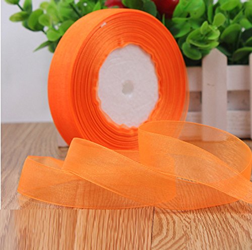 HG-X Fashion Pastel Color Premium Quality Shimmer Sheer Organza Ribbon Chiffon Ribbon-50 Yards (Orange)
