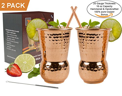 - EXTRA THICK HEFTY 20 Gauge Moscow Mule Copper Mugs by Eximius Power | 100% Pure Food Safe Copper Drinking Cups |Gift Set of 2 Premium 16 oz Hammered Design Handcrafted Tumblers |Bonus Straws & a Brush