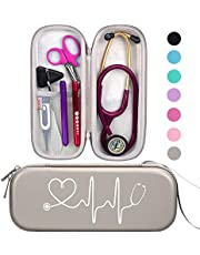 BOVKE Travel Carrying Case for 3M Littmann Classic III Stethoscope - Extra Room for Taylor Percussion Reflex Hammer and Reusable LED Penlight
