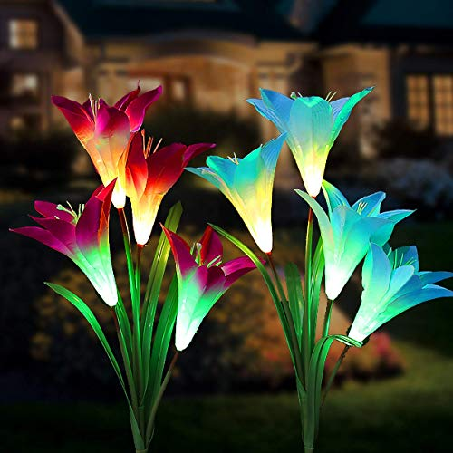 Tvird Outdoor Solar Garden Stake Lights,Solar Garden Lily Lights,2 Sets Solar Flowers with 8 Flowers,Multi-Colors Changing LED Decorative Lights Suit for Garden,Patio, Backyard(Purple and Blue)