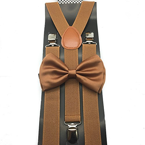 Light Brown Color Wedding Accessories Adjustable Bow Tie & - Light Brown Colour