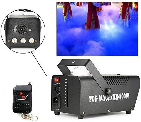 Mini-Rauchmaschine 500W, Rauchmaschine mit Funkfernbedienung und farbigen Lichtern, sehr gut geeignet für Hochzeits-DJ-Disco-Ball-Bühnenlichter