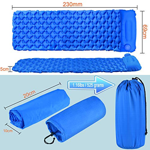 ATUP Ultralight Sleeping Pad – Inflatable Camping Sleeping Pad Mat for Backpacking, Traveling, Hiking Air Mattress Pads – Hand Press Inflating Camp Pad Bedding Built-in Pillow with Storage Bag