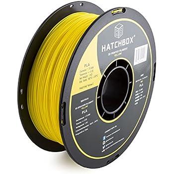 HATCHBOX 3D PLA-1KG1.75-YLW PLA 3D Printer Filament, Dimensional Accuracy +/- 0.05 mm, 1 kg Spool, 1.75 mm, Yellow