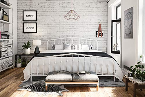 Art Deco Bed - Novogratz 4044149N Bushwick Metal Bed, King, White