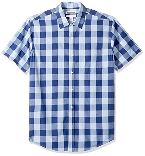 Amazon Essentials Mens Regular-Fit Short-Sleeve Check Casual Poplin Shirt