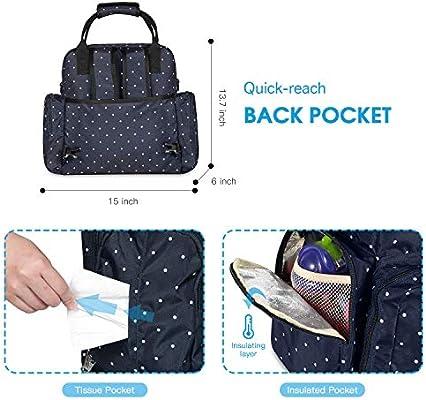 viaje con dise/ño de lunares botella bolsa de mano Juego de 5 bolsas multifunci/ón para maternidad gran capacidad bolsa de pa/ñales para beb/é