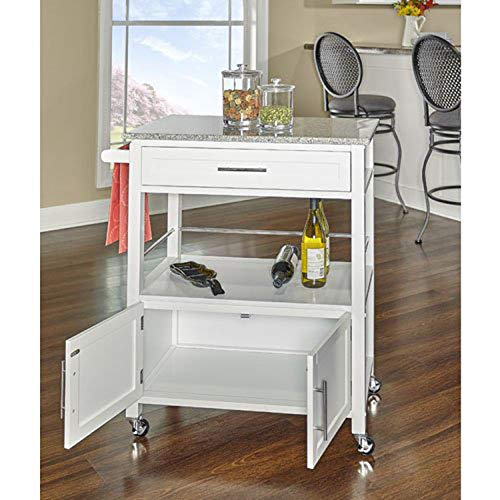 Simple Interior Kitchen Island with Granite Top - Multi Storage Sideboard Buffet - Modern Rolling Workstation with 1 Drawer, 1 Cabinet and Open Shelf (White) ()