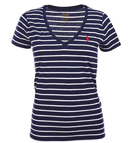 Ralph Lauren Womens Pony Logo V-Neck Jersey T-Shirt (Medium, Navy White Stripes/Heart Red)