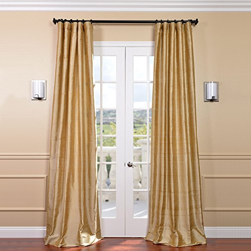 Half Price Drapes DIS-ID15-96 Biscotti Textured Dupioni Silk Curtain, Yellow ()
