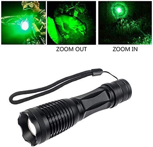 Bater/ía y Cargador LED Linterna con 350 L/úmenes Luz Verde Zoomable Coyote Hog Predator Varmint Luz de Caza Linterna T/áctica a Prueba de Agua con Interruptor de Presi/ón